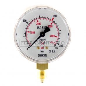 MANOMETRO 0-315 bar 0-4500 psi per OSSIGENO RICAMBIO RIDUTTORE di PRESSIONE
