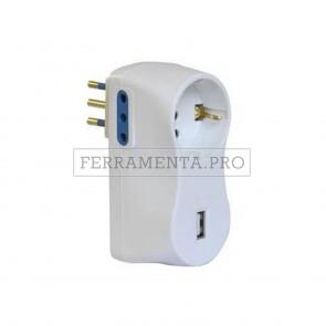 ADATTATORE PRESA MULTIPLA MULTIPRESA TRIPLA con 2 PRESE 10A + SCHUKO + USB