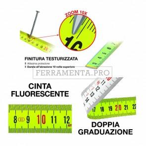 METRICA FLASH FLESSOMETRO METRO a NASTRO FLUO RIVESTITO NYLON 3 - 5 - 8 METRI